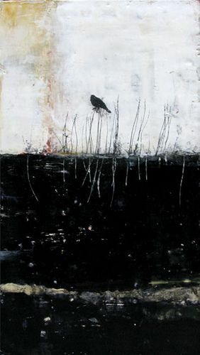 Bridgette Guerzon Mills In the Searching-- encaustic mixed media 24x13 inches