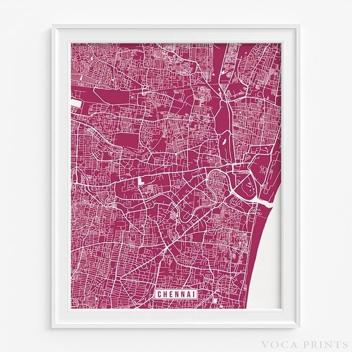 Chennai india street map print 43 best