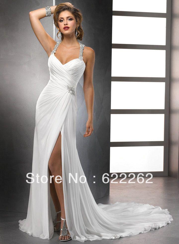 Белый шифон передняя ил милая свободного покроя стиль спинки лучший пляж свадебные платья