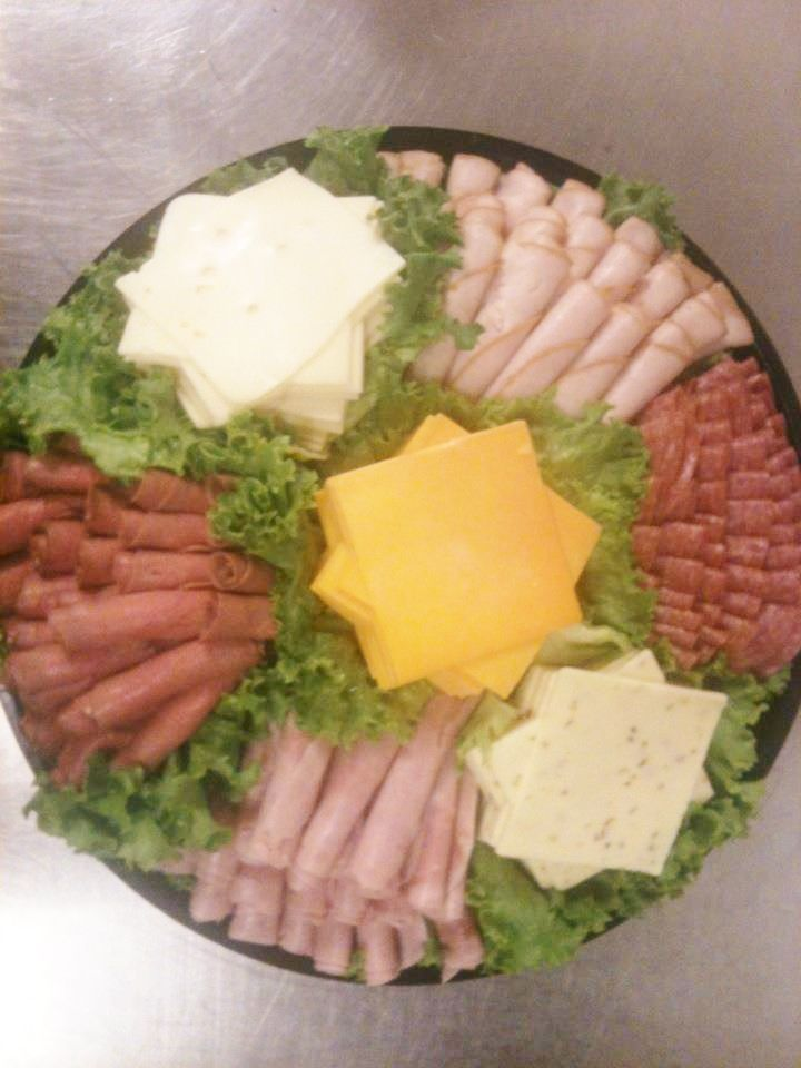 Deli Trays-food table-to go with the croissant sandwiches.  More visually appealing display, though.