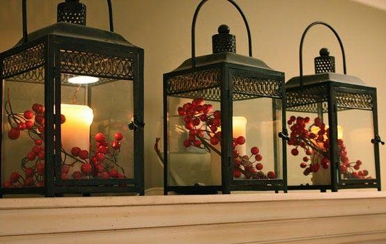 red berries in lanterns