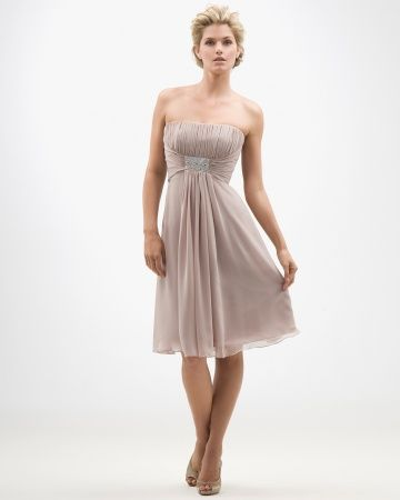 Tan Strapless Bridesmaid Dress