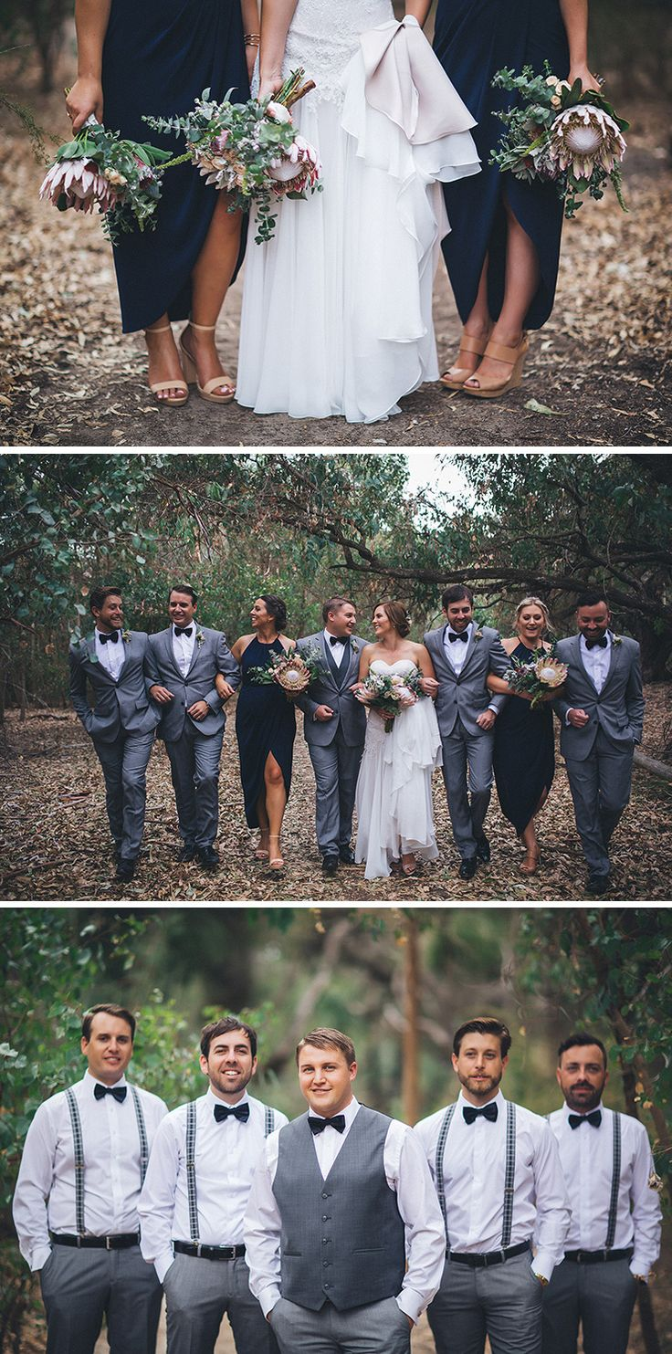 Navy bridesmaid dress and grey groomsmen suits with bow ties and suspenders | Kate Drennan Photography