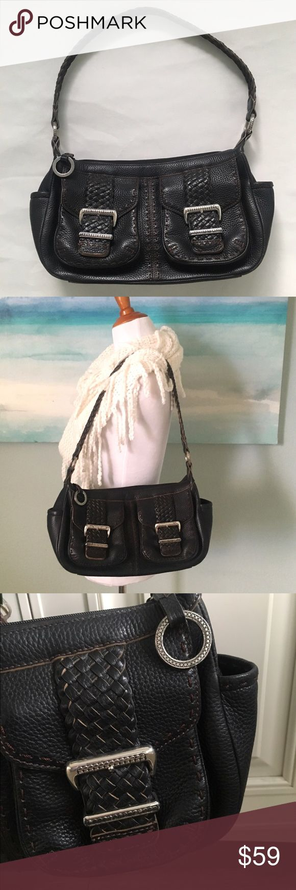 """Brighton Leather Buckle Bag Authentic, beautiful and in excellent condition!! ✨12x9x4, Strap Drop 12"""". ✨Deep chocolate brown, almost black. Two front magnetic pockets.  Two side pockets.  Back zipper. Interior is spotless. Brighton Bags Shoulder Bags"""