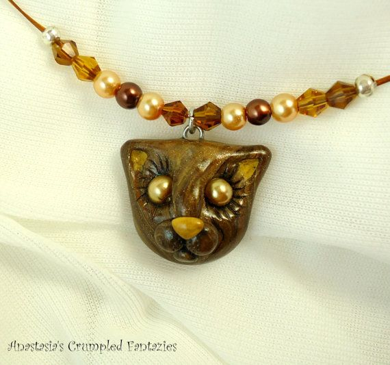 Brown wood kitty pendant Polymer clay forest by CrumpledFantazies