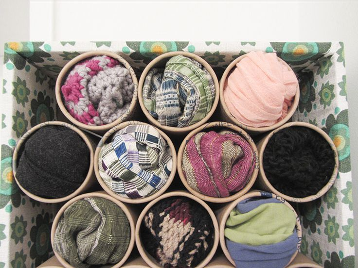 A scarf organizer from old pringles cans or cardboard tubes