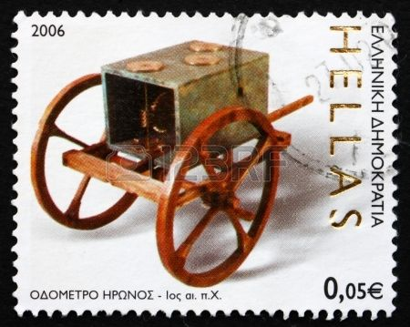 Odometer, by Hero of Alexandria, Ancient Greek Technology, stamp printed in the Greece , circa 2006