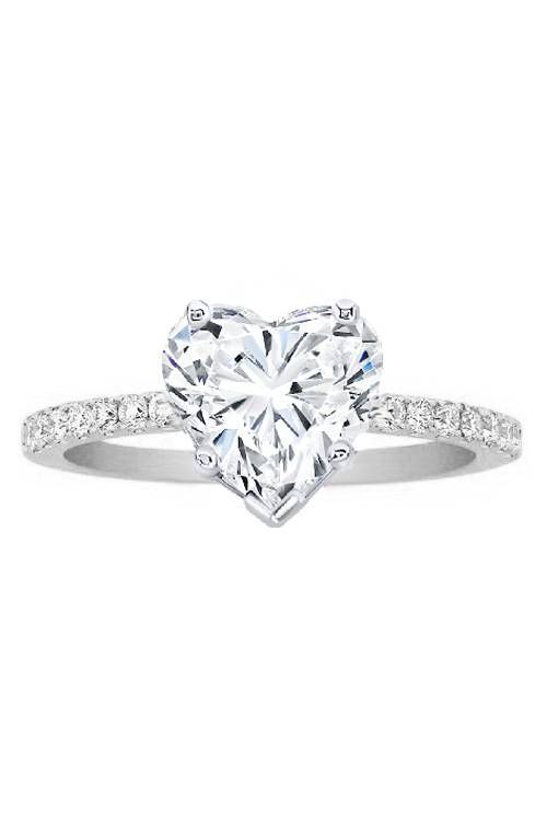 Heart Shape Diamond Engagement Ring Pave Band