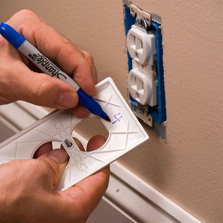 writing breaker number inside outlet cover