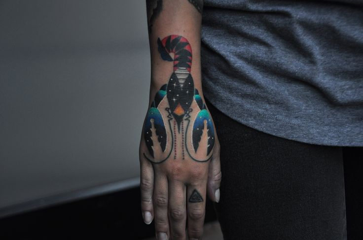 Psychedelic lobster on hand by David Cote, Imperial Tattoo Connexion, Montreal.  #lobster #lobstertattoo #psychedelic #tattoo #space #trippy #colorful #geometric #hand #handtattoo