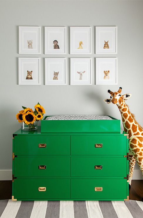 green nursery furniture. Adorable Nursery With Sharon Montrose The Animal Shop Prints Hung Over A Glossy Emerald Green Campaign Dresser Turned Changing Table Flanked By Doug And Furniture