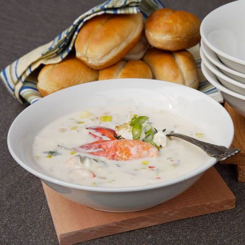 Plank Smoked Halibut & Lobster Chowder with Dill Pesto