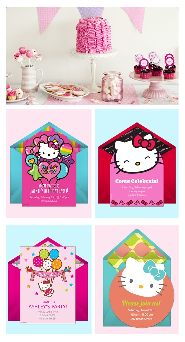 Paper invites are too formal, and emails are too casual. Get it just right with online invitations from Punchbowl. We've got everything you need for your Hello Kitty themed party.  http://www.punchbowl.com/hellokitty/express/?utm_source=Pinterest&utm_medium=1.27P