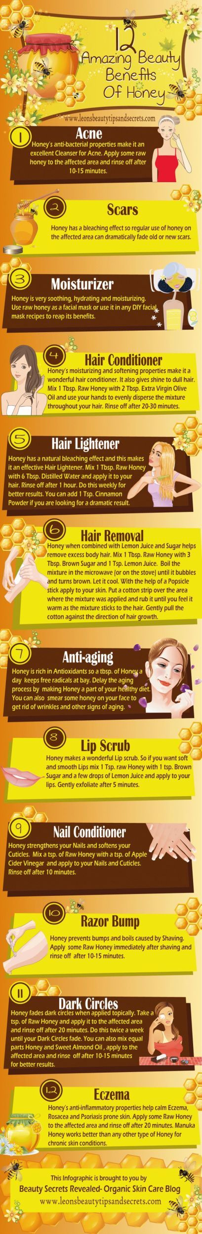 Sweet! 12 Amazing Beauty Benefits Of Honey Infographic - Acne, scars, moisturizer, hair conditioner & lightener, anti-aging, lip & nail conditioner, dark circles, eczema.