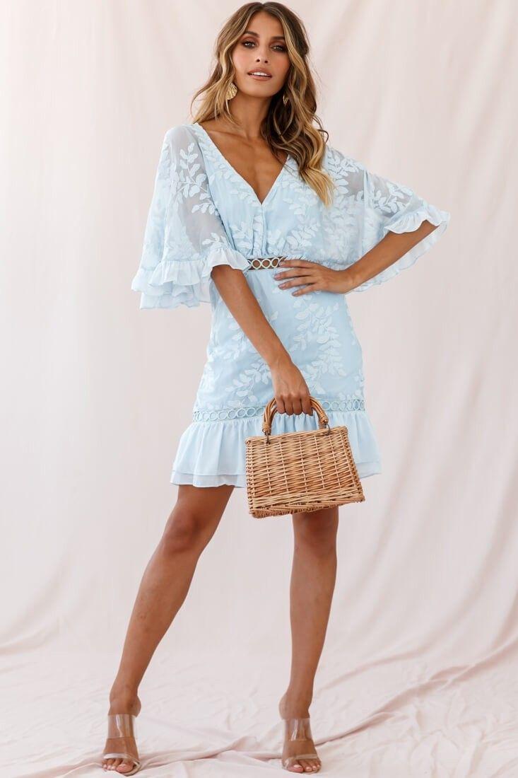 Caspar Leafy Embroidered Dress Baby Blue Tall White Mini Dress Balloon Sleeve Dress Dresses [ 1100 x 733 Pixel ]