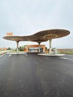 Futuristic petrol forecourt in America
