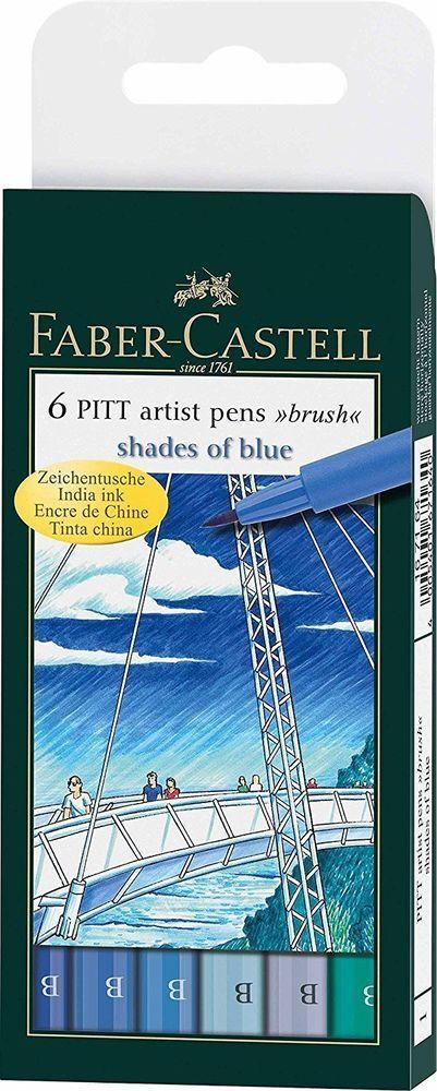 Faber-Castell Pitt Artist Pens SHADES OF BLUE Brush 6 pc set 167164T Brand NEW!   eBay