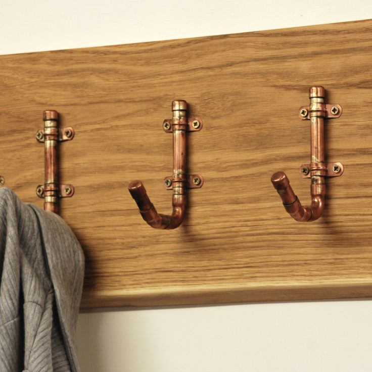 Industrial Copper Pipe Hooks - Wall Coat Rack - Coat Hooks - Industrial Furniture - Copper Home Decor - Copper Gifts For Men - Fathers Day by BespokeandOakCo on Etsy