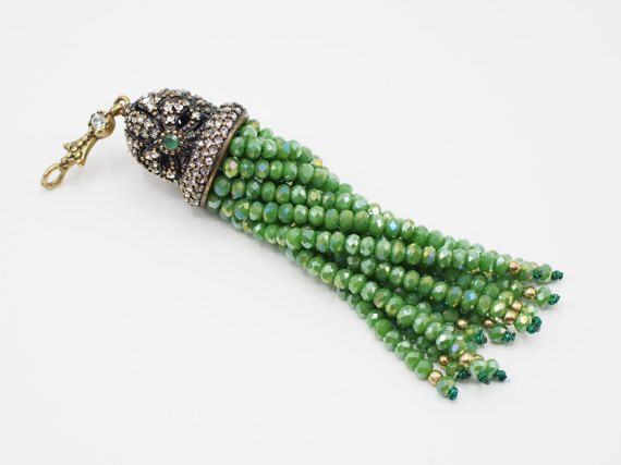 Green Crystal Stone Jewelled Tassel Pendant with Shiny Crystal