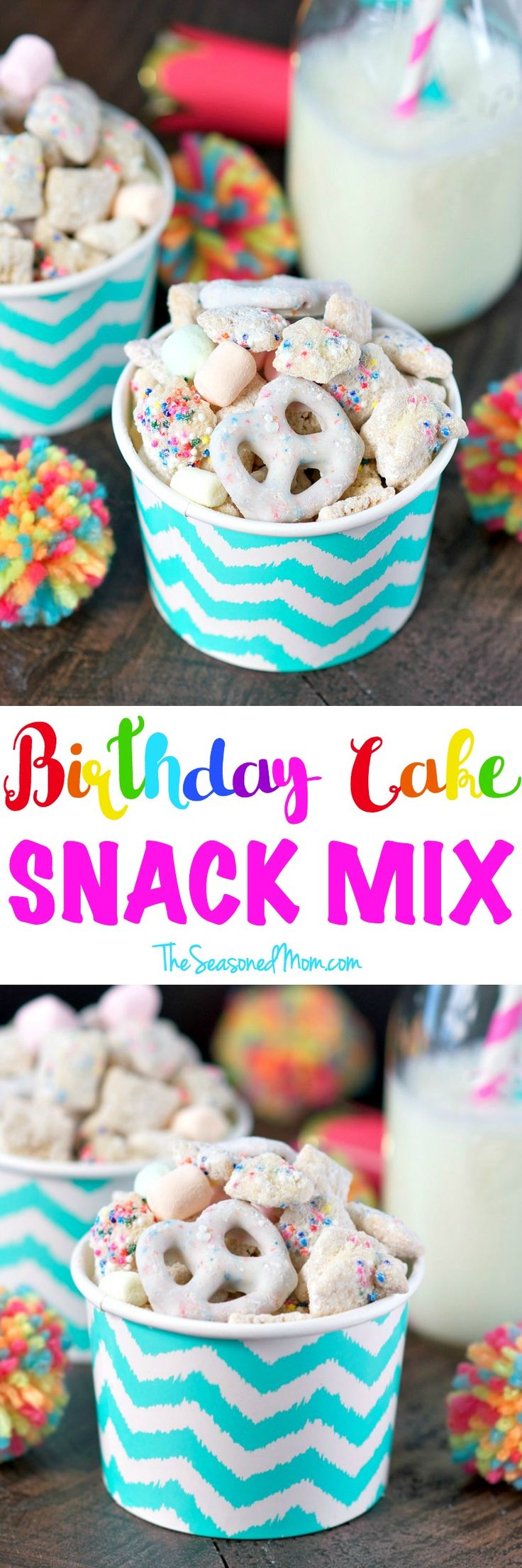 This salty-and-sweet Birthday Cake Snack Mix is the perfect cake batter-flavored Puppy Chow snack or dessert to serve at parties, in the school classroom, or for any other festive celebration! #FLIPZ #ad