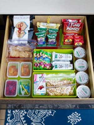 """How to make a snack drawer work: Kids can eat anything out of the green bin, the red bin means """"Ask mom""""."""