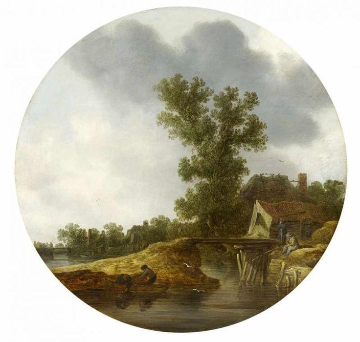 jan van goyen Flusslandschaft mit Fischern und Bauernhaus