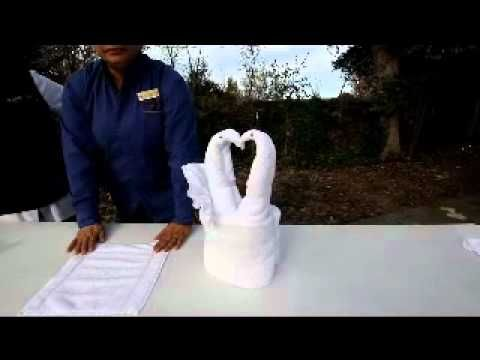 This video demonstrates how to make the Swan Basket folds being used at riverpointe for Valintines Week at RiverPointe Napa Valley - a Grand Pacific Resort