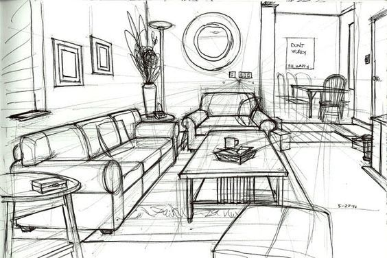 one point perspective drawing living room - Google Search