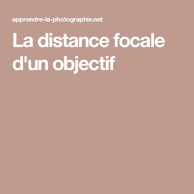 La distance focale d'un objectif