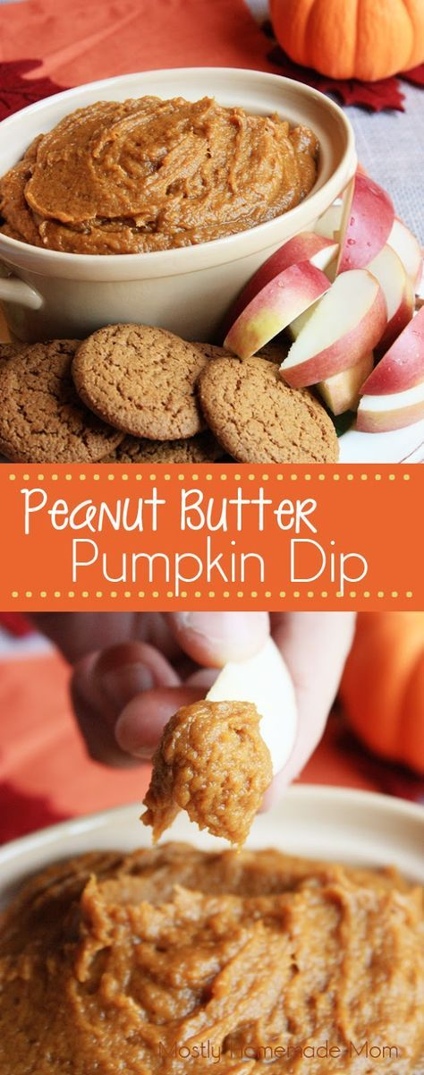 Peanut Butter Pumpkin Dip - Pumpkin puree, creamy peanut butter, brown sugar, and spices blend together for the perfect dip! Great with gingersnaps and apples!