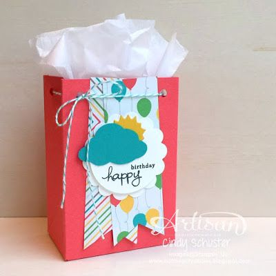 All you need is a few punches to make this gift bag! ~ Cindy Schuster