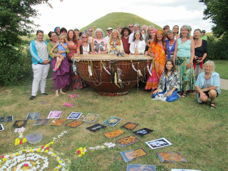 White Eagle and Grandmother Drum ceremony at Silbury Hill, UK