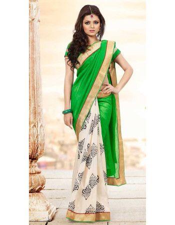 Green Cream Beautiful Drashti Dhami Bhagalpuri Silk Saree  Rs.1,945 33% OFF
