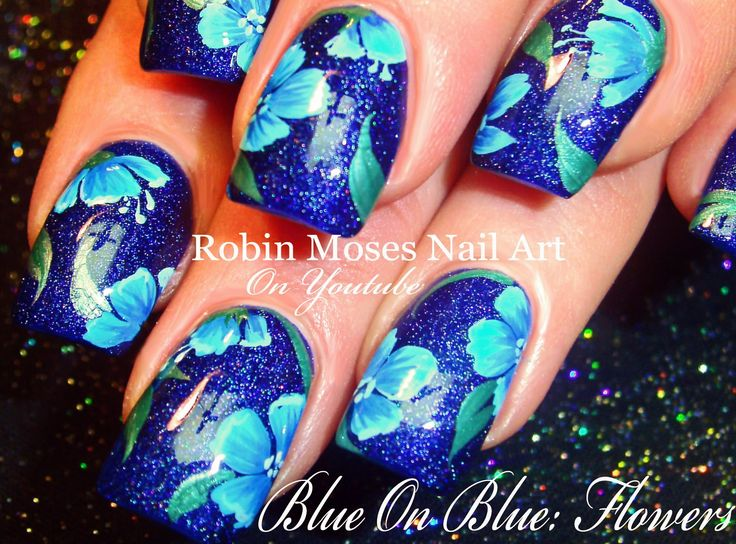 Blue Flower Nails | Navy Floral Nail Art Design Tutorial @opiproducts @opinailsuk  #givemespace