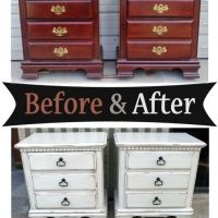 Nightstands in distressed Antiqued White with Tea Stained Glaze - Before and After from Facelift Furniture