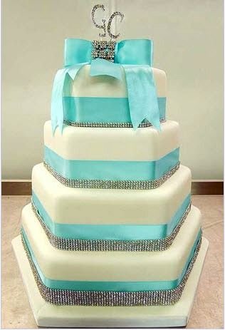 Tiffany blue wedding cake Square  and round are cake are expected at weddings, but this is amazingly different and unique. Love it
