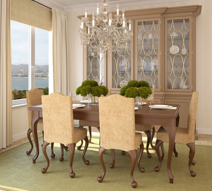 Dining Room, Cool Dining Room Set Design With Wooden Chairs Table  Chandelier Cabinet Storage For