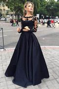 2016 Special Occasion Dresses A Line Bateau Long Sleeves Zipper Up Back With Applique Black US$ 169.99 LilyPM48LNNH - lilypromdresses.com for mobile