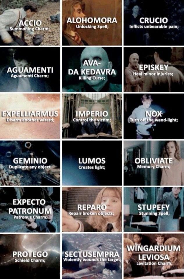 Spells In Harry Potter Harrypottertattooshogwarts Harry Potter Esprileri Harry Potter Bilgileri Harry Potter Capsleri