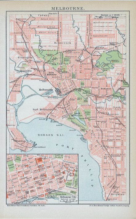 Antique Map of Melbourne, Australia - 1896