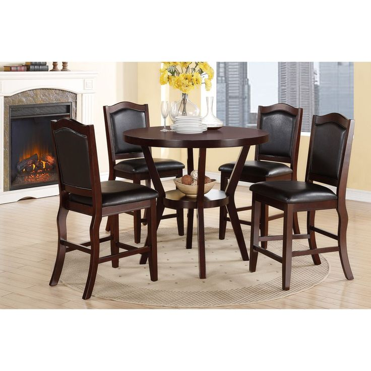Hanz Tuly 5-piece Round Dining Set (Hanz Tuly 5 Piece Round Dining Set), Brown, Size 5-Piece Sets
