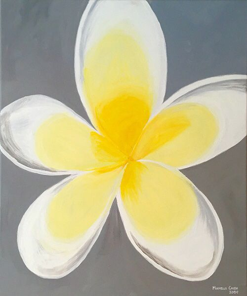 """Frangipani"" PRICE: $175.00  MEDIA: Acrylic on Canvas DIMENSIONS: 495mm(w)x595mm(h) / 19.5″X23.5″  © Michelle Green 2009"