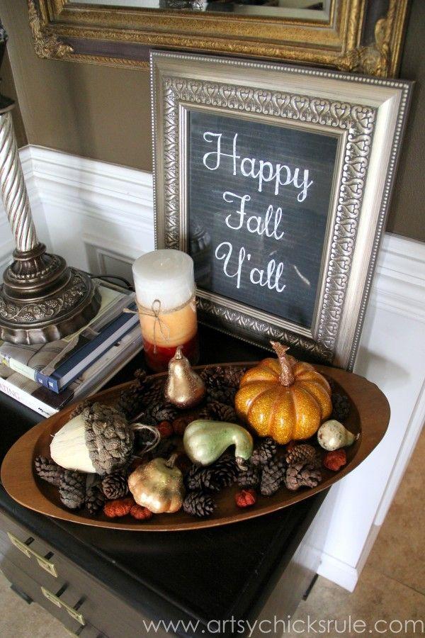 Happy Fall Yall - Chalkboard Art Tutorial - Fall Decor - artsychicksrule.com #chalkboard #art #sign #falldecor (19)
