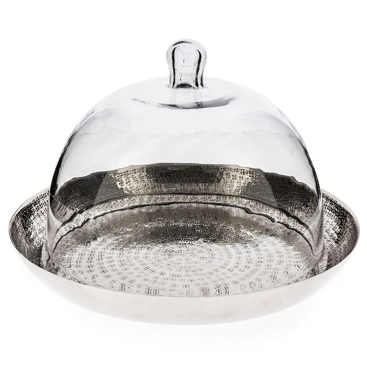 Aluminium Tray with Glass Dome | Hammered Silver | 36x24cm by Modern Moroccan on THEHOME.COM.AU