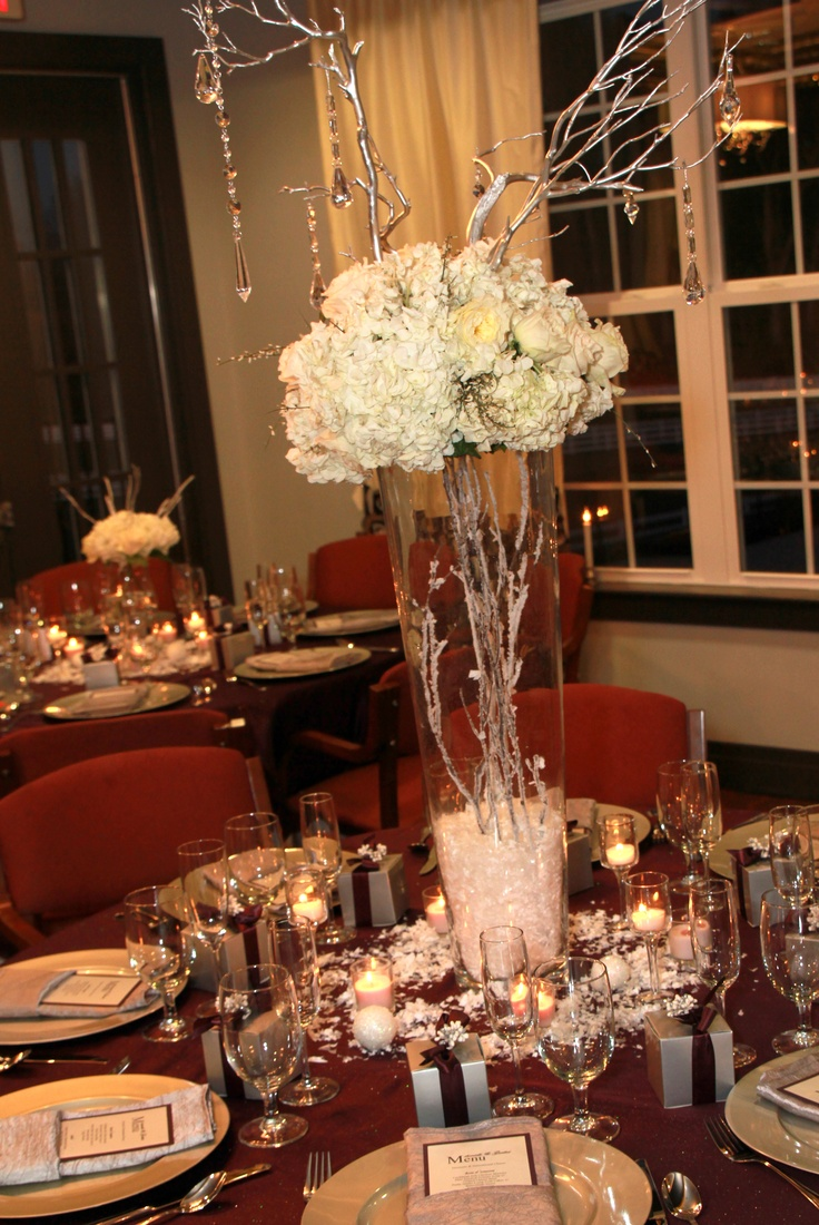 29 best floral centerpieces images on pinterest floral tall winter white floral centerpiece with snow covered branches inside snowflakes sprinkled and manzanita branches reviewsmspy