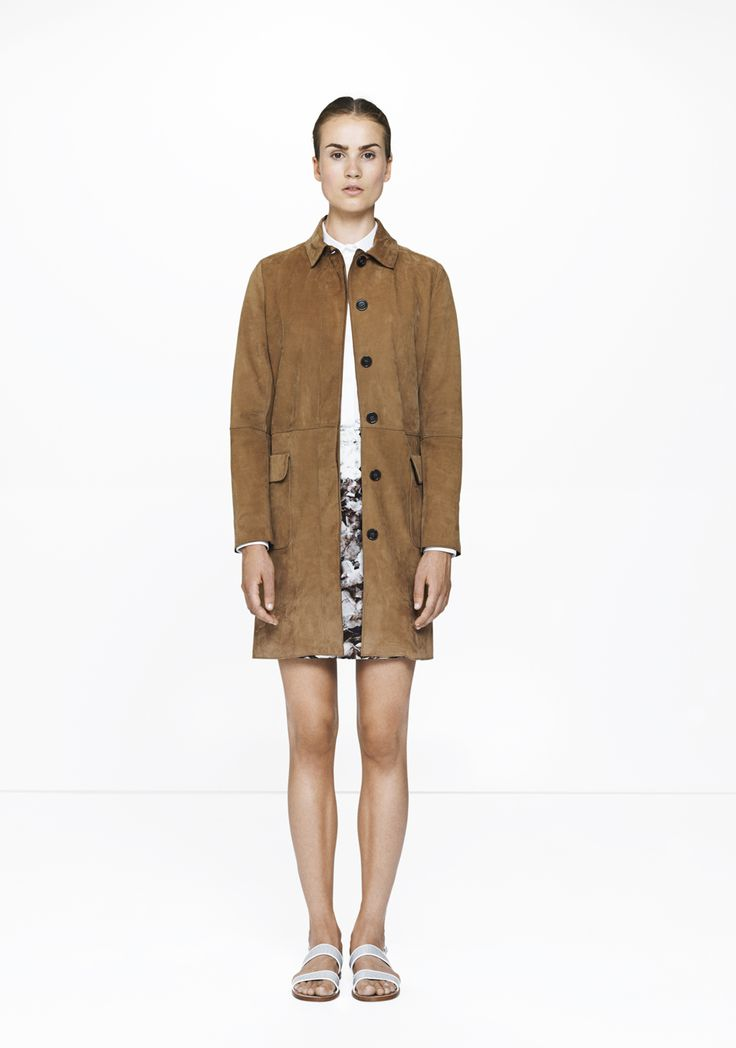 Brown Suede coat - 643  ELISE GUG SS15