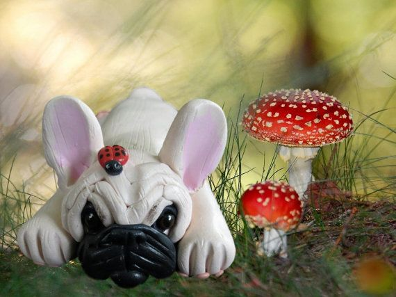 Light Creme French Bulldog Dog with ladybug on head OOAK polymer clay art by Sally's Bits of Clay on Etsy, $22.99
