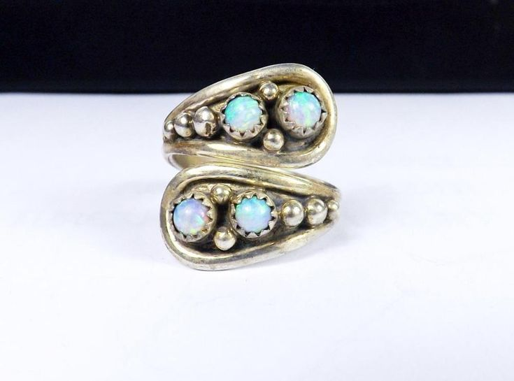 Southwest RB Navajo Chaco Canyon Sterling Silver Opal Wrap Bypass Size 8 Ring #RB