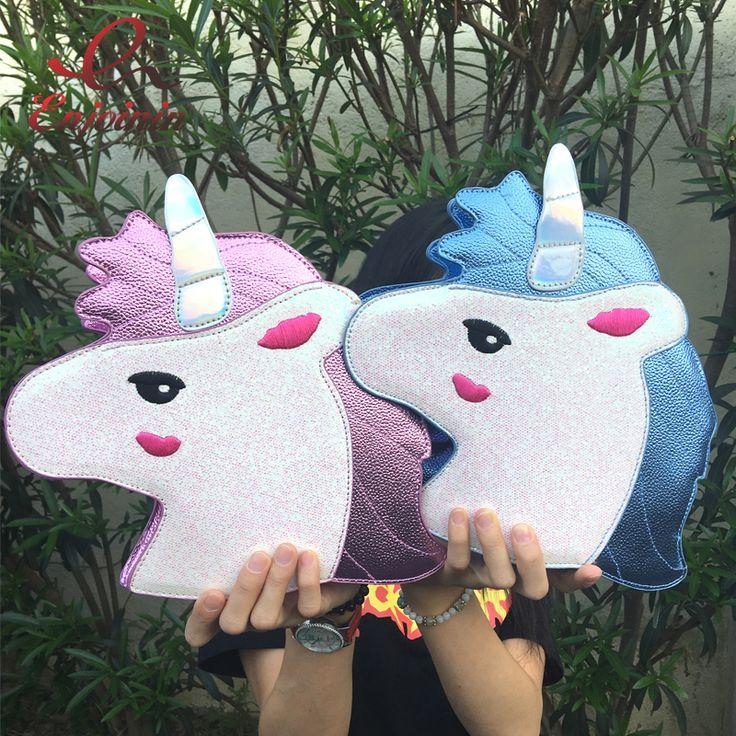 Bolsa Divertida Tendência de moda Unicórnio bolsa de ombro Feminina rosa e azul Bolsas Divertidas