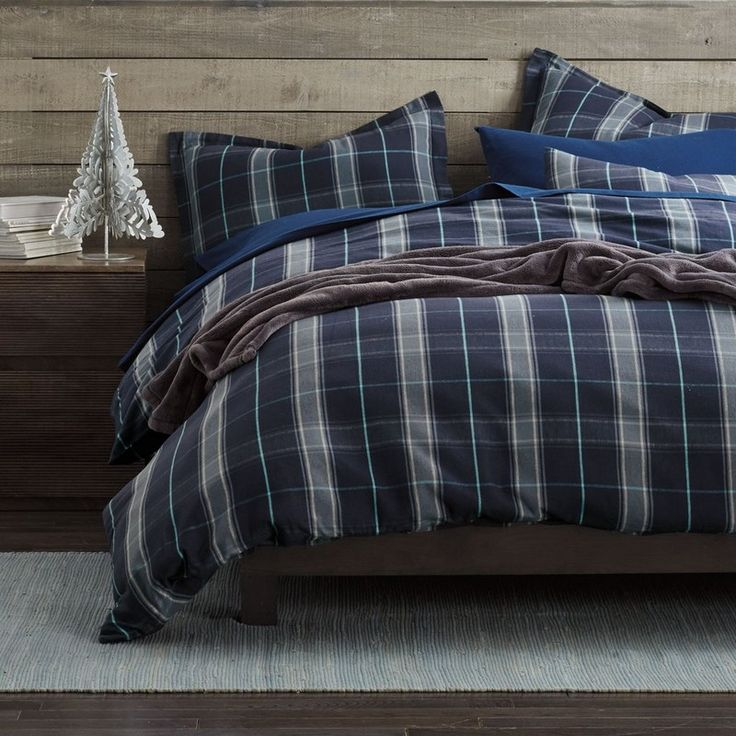 Lodge Plaid 5 oz. Yarn-Dyed Flannel Duvet Cover / Sham - Recreate a cozy ski-lodge warmth in the bedroom with this inviting plaid flannel duvet cover, designed in deep shades of navy blue and gray with a pop of aqua.